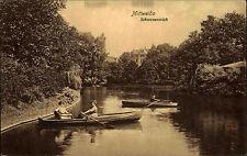 MITTWEIDA um 1910 alte Postkarte Sachsen 2 Frauen im Ruderboot Schwanen Teich