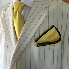 Pocket Square Handmade Yellow And Black Stitched Borders By Squaretrapny.com