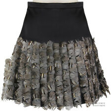 Christopher Kane Black Satin-Silk Pleated Feather Detailed A-Line Skirt UK8 IT40