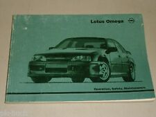 Betriebsanleitung Handbuch Owner's Manual Opel Lotus Omega, Stand 06/1990