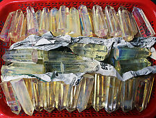 WHOLESALE PRICE! 2.2lb/20-25Pcs Yellow SMELT QUARTZ CRYSTAL Stand up Point Wand
