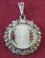 Vintage Catholic Religious Medal - STERLING GUILLOCHE - MARCASITE - MIRACULOUS