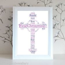 Personalised Word Art Print Christening communion baptism god holy cross card