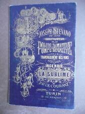Cataloghi industriali pompe incendi per vini per  birra stevano torino 1887