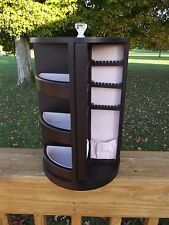 "Spinning Dark Wood Jewelry Organizer Pink Velvet Lined Mirror Large 13"" Tall"