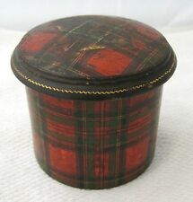 Antique Tartan Plaid Tartanware Stuart Powder Box Feather Down & Bone Puff  DRW3