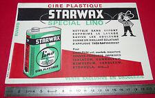 BUVARD STARWAX CIRE PLASTIQUE PRODUIT D'ENTRETIEN SOL  1950-1960