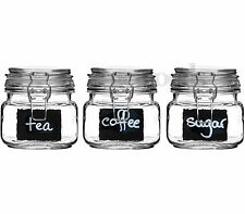 Set Of 3 Small Glass Deli Airtight Clip Top Vintage Storage Jars Pot Chalk Board