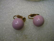 Vintage 1960's Pink Ball Stud Clip Earrings, Gold Tone, 13 mm