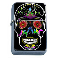 Windproof Refillable Oil Lighter Sugar Skull D8 Day of The Dead Dia De Muertos