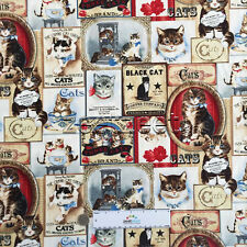 VICTORIAN CATS CREAM Cream Cotton Quilt Fabric by the Yard Vintage Kittens Block