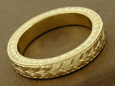 R231 Solid 9ct Gold HEAVY Wedding Band Etched Ring Vintage design THICK size M