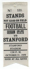 1970 College Football Ribbon Stanford University vs Oregon State