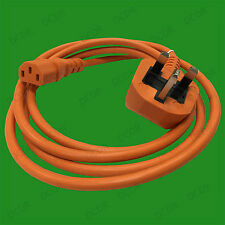 2m Orange Mains Power Cable Kettle Lead Cord 5A UK 3 Pin Plug To IEC C13 Socket