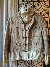 Moschino Beige/Grey Fleck Boucle With A Twist Jacket,UK10-12-FR40-US10 NWOT