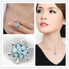 Crystal Snowflake Blue Frozen Flower Silver Necklace Pendant Charm Vintage lady