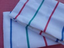 PAIR VINTAGE FRENCH PURE LINEN TORCHONS TEA TOWELS RED GREEN BLUE STRIPES