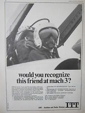 6/1973 PUB LMT BOULOGNE ITT AVIATION MIRAGE PILOTE CASQUE HELMET ORIGINAL AD