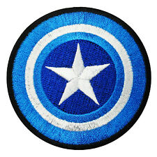 Captain America Blue Shield Logo Patch Embroidered Comics Applique Iron On Movie