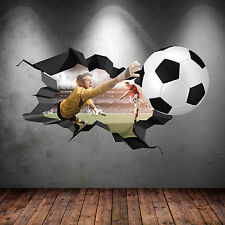 3D FOOTBALL FULL COLOUR CRACKED GOAL Wall Art stickers Decal Boys Graphic Mural