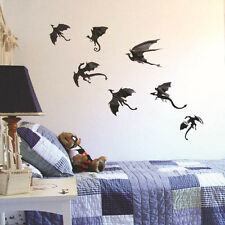 7pcs/set Dinosaurs Boys Rooms Game of Thrones 3D Dragons Wall Stickers Decor