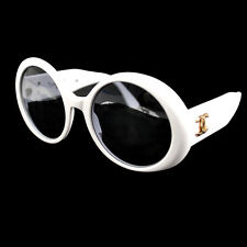 ULTRA RARE! AUTH CHANEL CC ROUND FRAME VINTAGE SUNGLASSES WHITE EYE WEAR AK02614