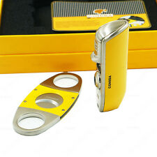COHIBA Yellow Metal 3 Torch Jet Flame Cigar Lighter With Punch Smooth Cutter Set
