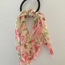 A Ponytail Band/Hair Bobble With A Pretty Cream And Pink Floral Scarf