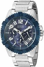 GUESS Men's U0800G1 Sporty Silver-Tone Stainless Steel Watch with Multi-funct...