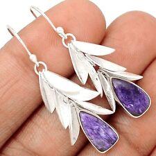 Charoite Leaf Overlay Silver Earrings  SE131859
