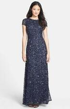 Adrianna Papell  Navy Gunmetal Short Sleeve Sequin Mesh Gown- Size 12