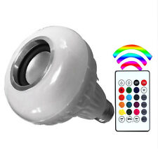 12W E27 LED RGB Wireless Bluetooth Speaker Bulb Light Music Player Lamp + Remote