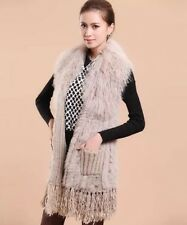 Knitted Fur Vest Jacket Mongolian Lamb Fur Collar & Rabbit Fur Bottom Size 10