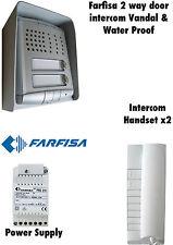 FARFISA 2 vie della porta INTERCOM VANDAL / IMPERMEABILE sistema / KIT. DESIGN ITALIANO
