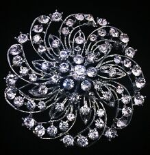 USA BROOCH PIN Rhinestone Crystal Gemstone Bridal Wedding Queen Cake Silver 4