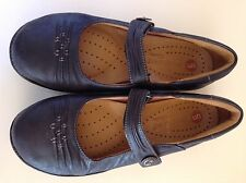 CLARKS Un Structured Flat Mary-Jane Women's Size 7.5 Navy Blue Leather