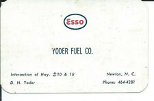 AA-043 - Yoder Fuel Co, Newton, NC, Esso Service Gas Business Card Vintage 1964