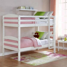 Wood Bunk Bed Twin over Twin Convertible Bunkbeds Kids Ladder Furniture White