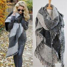 Gray Women's Thick Warm Wool Pashmina Cashmere Stole Scarves Scarf Shawl Wraps