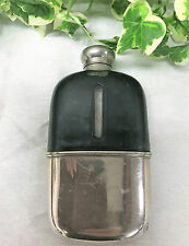 Fabulous Antique James Dixon & Sons Silver Plate And Leather Bound Hip Flask