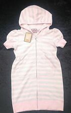 NWT Juicy Couture New Girls Age 8 Pink & Silver Hoodie Cotton Beach Sun Dress