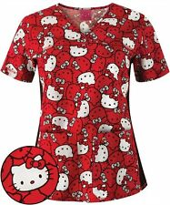 Cherokee Tooniforms Medical Scrubs Hello Kitty Red Bow Top Sz Small NWT