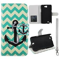 Flip Wallet Green Anchor Chevron For Samsung Galaxy Note 2 N7100  Cover Case