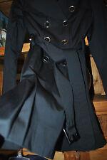 Designer~LONDON FOG~Black Belted, Lightweight Buttons Pockets Trench Coat Jacket
