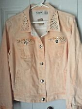CHICO'S PLATINUM  PEACHY LS STUDDED/BLING DENIM JEAN JACKET  SZ. 2