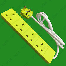 1x 2m Light Green 4 Way Extension Socket Lead, 13A 3 Pin UK Mains Outlet