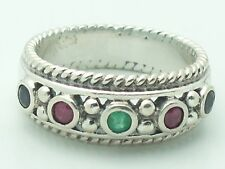 Estate Sterling Silver CNA Signed Emerald Sapphire & Ruby Band Ring .925