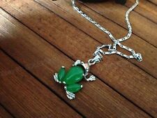 Beautiful Green Jade Carving Cute Frog Jade Pendant + Chain Necklace Jewelry