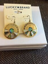 Lucky Brand Goldtone Natural Abalone  Disc Drop Earrings JLRU5782 $35 #503