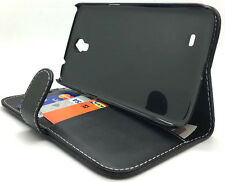 Extra Fine Black Leather Protective Wallet Case Cover Samsung Galaxy Mega 6.3